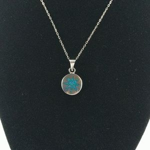 🇨🇦 Mid 1970's Sterling, Turquoise Chip Pendant
